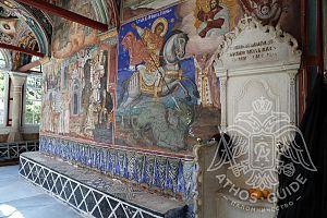 Фрески и мраморный трон монастыря Зограф