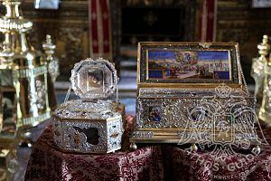 Пояс Пресвятой Богородицы, Глава Иоанна Злотоуста, монастырь Ватопед
