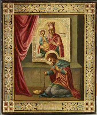 Иоанн Дамаскин перед Иконой