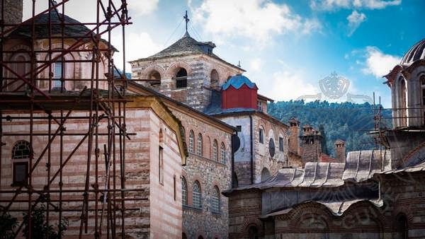 Строительные работы в монастыре Хиландар на Афоне