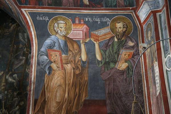 Фреска с изображением Петра и Павла в Ватопеде
