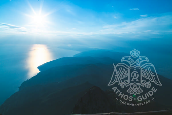 Афонский полуостров с вершины Горы Афон