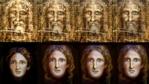 Фото: Плащаница Иисуса и портрет Иисуса Христа, восстановленный по ней